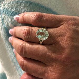Jewelry - Green Amethyst, Peridot CZ Sterling Silver Ring